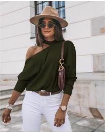 Дамска блуза в  маслено зелено - код 5618