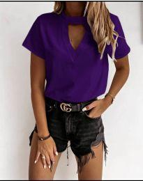 Дамска изчистена тениска в  тъмно лилаво - код 3597