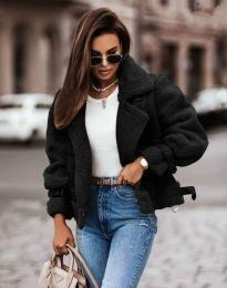 Късо дамско палто в черно - код 4855