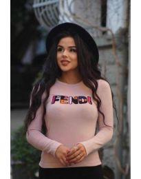 Дамска блуза в цвят пудра с надпис - код 6165