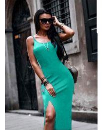 Зелена дамска рокля по тялото с цепка - код 821