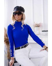 Дамска блуза с поло яка в синьо - код 6343