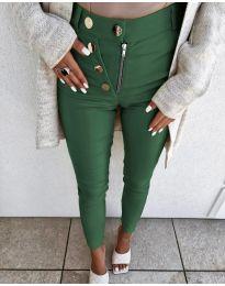 Ефектен дамски панталон в тъмнозелено - код 1874