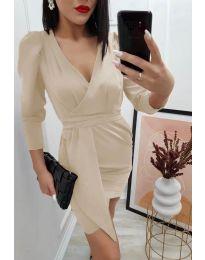Елегантна дамска рокля в бежово - код 0515