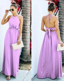 Атрактивна дълга рокля в светлолилаво - код 6121