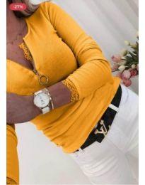 Дамска блуза с цип на деколтето в цвят горчица - код 584