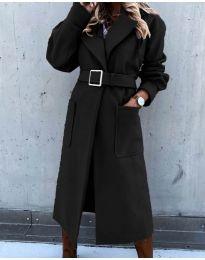 Дълго дамско палто с колан в черно - код 423