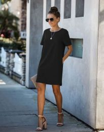Свободна дамска рокля в черно - код 4408
