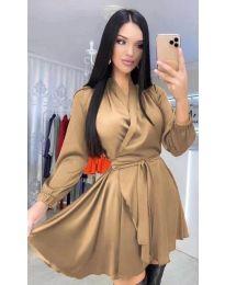 Екстравагантна рокля в кафяво - код 5931