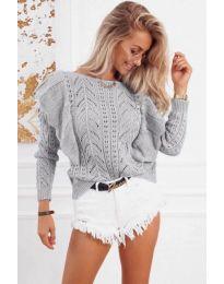 Ефектна плетена блуза в сиво - код 5321