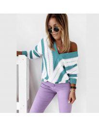 Дамска блуза в цвят тюркоаз - код 0907