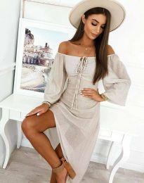 Атрактивна дамска рокля в бежово - код 2734
