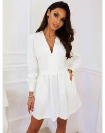 Кокетна рокля в бял цвят - код 089