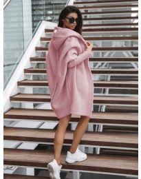 Дълга плетена жилетка в цвят пудра - код 053