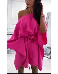 Свободна дамска рокля в цвят циклама - код 923