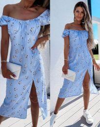Лятна рокля в светлосиньо на цветя - код 2127 - 1