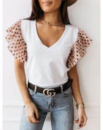 Бяла тениска с розови ефектни ръкави - код 420