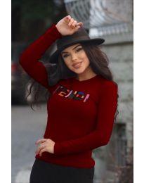 Дамска блуза в цвят бордо с надпис - код 6165