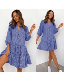 Свободна дамска рокля на синьо каре - код 965