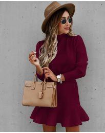Дамска рокля  в бордо - код 9140