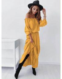 Дамска рокля в цвят горчица - код 1317