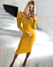 Стилна дамска рокля в цвят горчица - код 3865