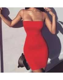 Вталена рокля с тънки презрамки в червен цвят - код 3687