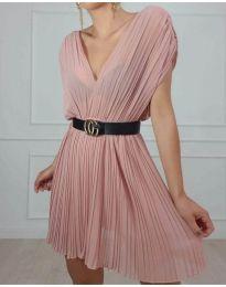 Изчистена рокля в цвят розово - код 5670