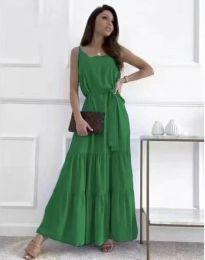 Дълга дамска рокля в зелено - код 2578