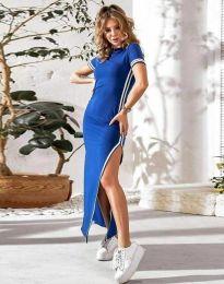 Дамска рокля в синьо с цепка - код 0715