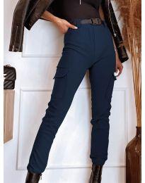 Панталон с джобове в  тъмно синьо - код 4842