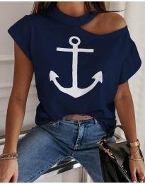Тениска с голо рамо в тъмно син цвят с котва - код 206