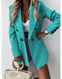 Елегантно дамско сако в цвят тюркоаз - код 815