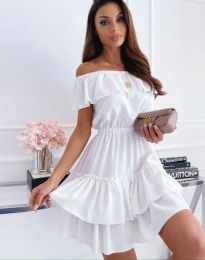 Кокетна къса рокля в бяло - код 6777