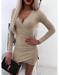 Изчистена рокля в бежово - код 5513