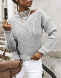 Дамски ефектен пуловер в сиво - код 1804
