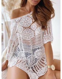 Дамска блуза с дантела в бяло - код 0099
