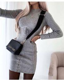 Елегантна дамска рокля в сиво - код 4453