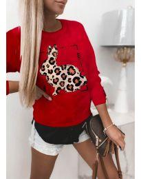 Дамска червена блуза с принт - код 3992