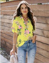 Дамска риза с флорален мотив в жълто - код 657