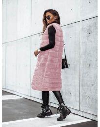 Дамски дълъг елек в розово - код 9153