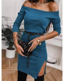 Дамска рокля в цвят тюркоаз - код 4720