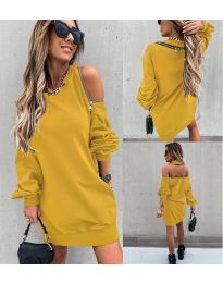 Дамска рокля в цвят горчица - код 296
