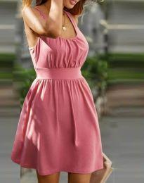 Дамска рокля с ефектен гръб в цвят пудра - код 0254