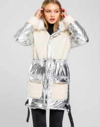 Атрактивно дамско яке в сиво - код 0464
