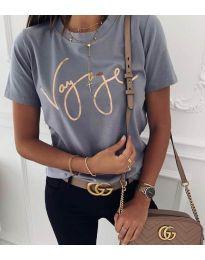 Дамска тениска в сиво със златен надпис - код 3350