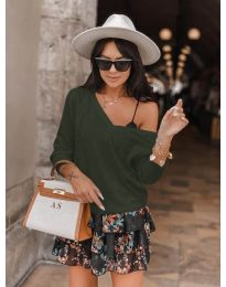 Дамска блуза в маслено зелено - код 6013