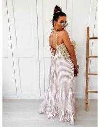 Дълга рокля с кафяво райе - код 0560