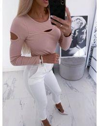 Ефектна дамска блуза в цвят пудра - код 3518