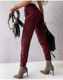 Модерен дамски панталон в бордо - код 3987